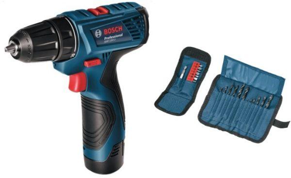 Акумулаторен винтоверт Bosch GSR 120-LI Professional + комплект консумативи 24 бр.