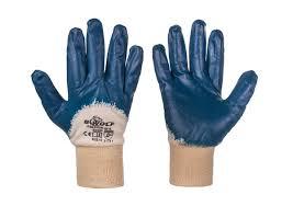 Ръкавици топени в нитрил, памучни сини