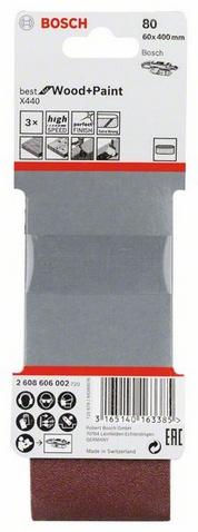 Комплект лентова шкурка за шлайфане X440, 3 части, 60Х400, К80